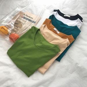 清新牛油果绿上衣t恤女短袖春夏百搭纯色圆领T恤宽松显瘦打底衫女
