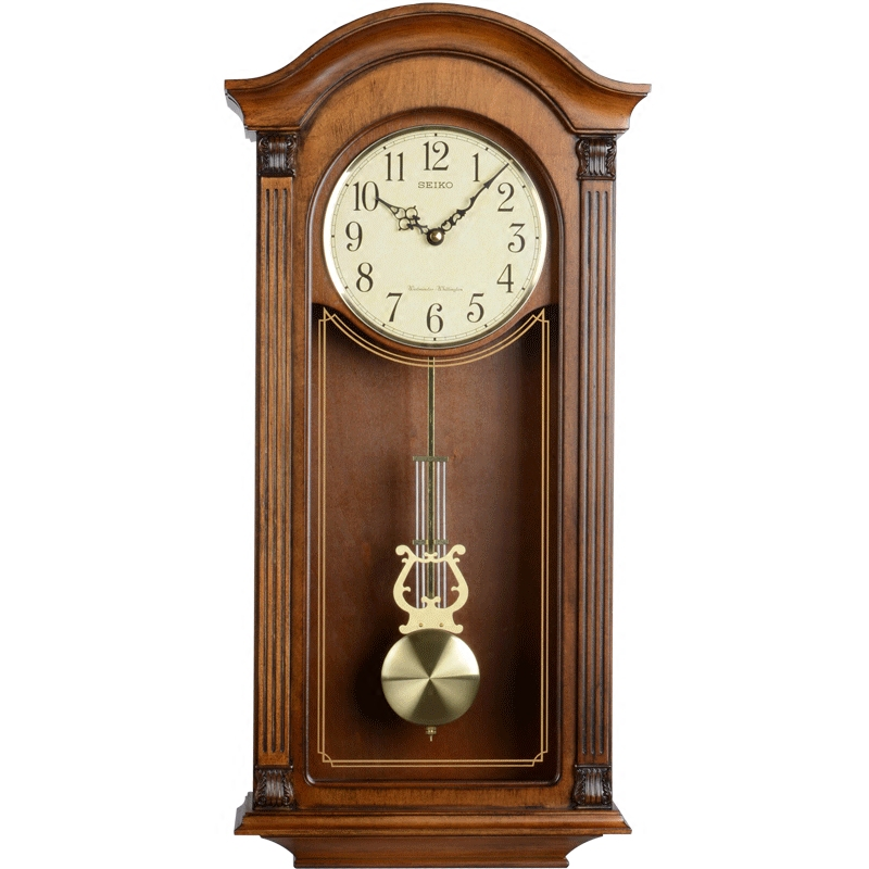 SEIKO日本精工时钟 时尚音乐报时刻点打点欧式经典实木客厅大挂钟
