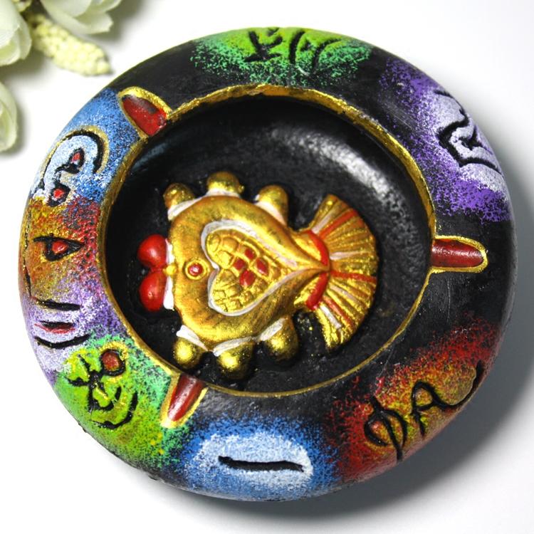 Пепельница Юньнань Лицзян ручной Наси Донгба текста глины окрашены пепельница кафе-бар, представленный украшения