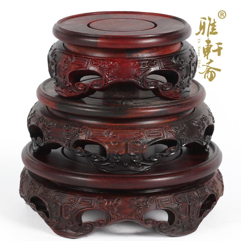 雅轩斋红木雕工艺品红酸枝如意底座2012060804