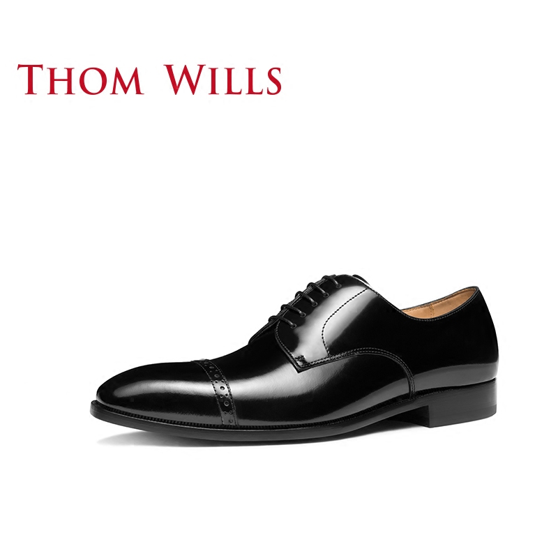 ThomWills威世男士商务正装皮底皮鞋亮皮真皮西装男鞋英伦德比鞋