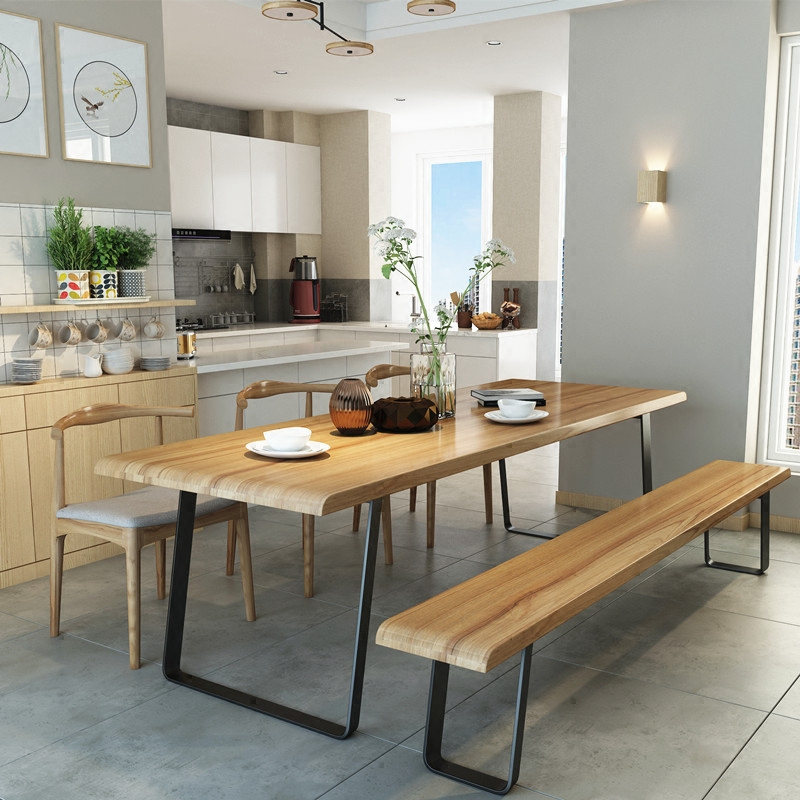 北欧实木餐桌椅组合loft铁艺复古办公桌长桌原木饭桌简约工作台