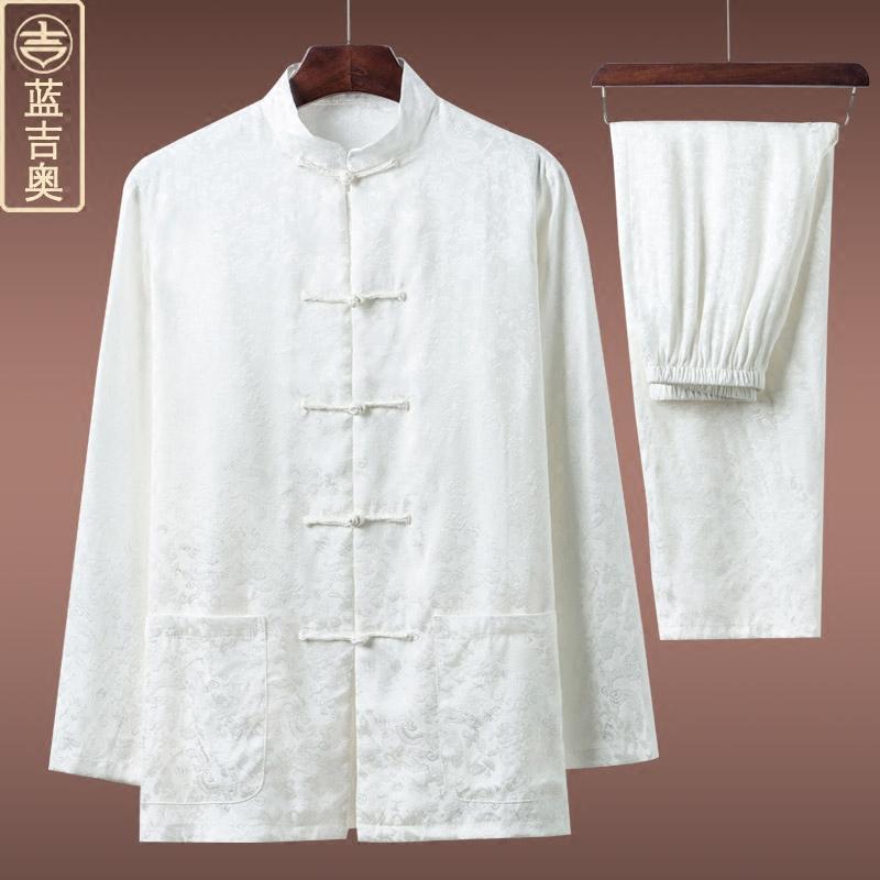 中老年人唐装男夏季长袖真丝桑蚕丝套装爸爸爷爷老人衣服装中国风