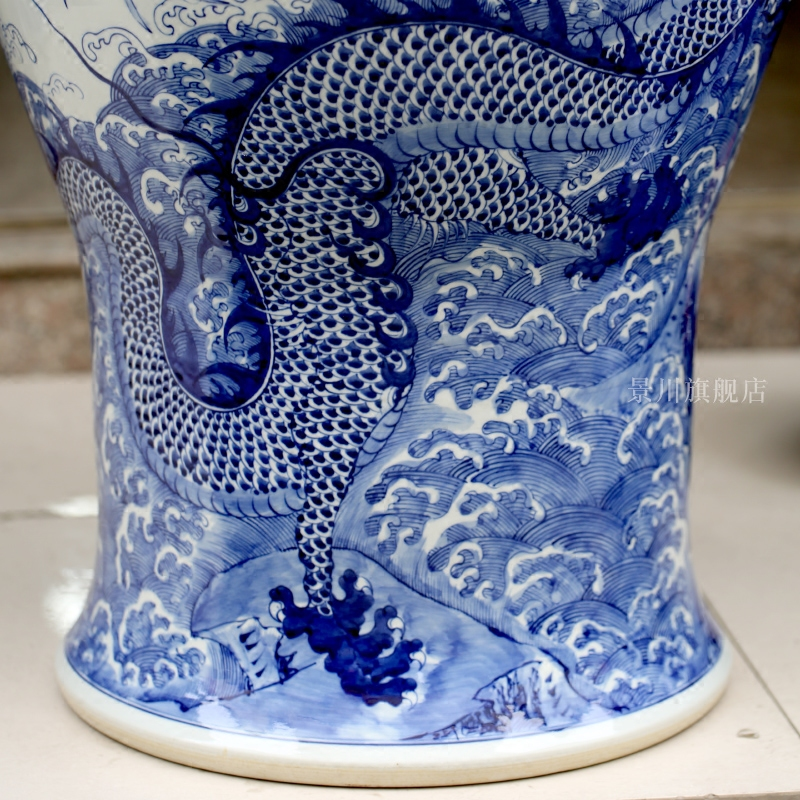 Jingdezhen blue and white porcelain hand - made dragon playing pearl sitting room of large vase household ceramics general furnishing articles large tank
