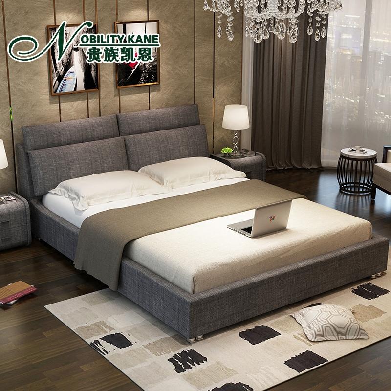 北欧布艺床可拆洗小户型布床1.8米双人床单人储物床主卧现代简约
