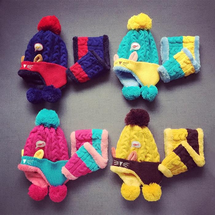 Комплект из двух частей Ребенок ребенок шляпа шарф комплект осень и зима теплый толстый шерстяная шапочка плюс бархат шарф два кусок набор для мальчиков и девочек