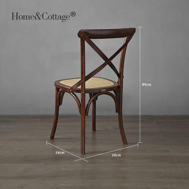 HC 欧法美式乡村田园实橡木架餐椅 复古个性背叉椅叉骨交叉背椅子_图3