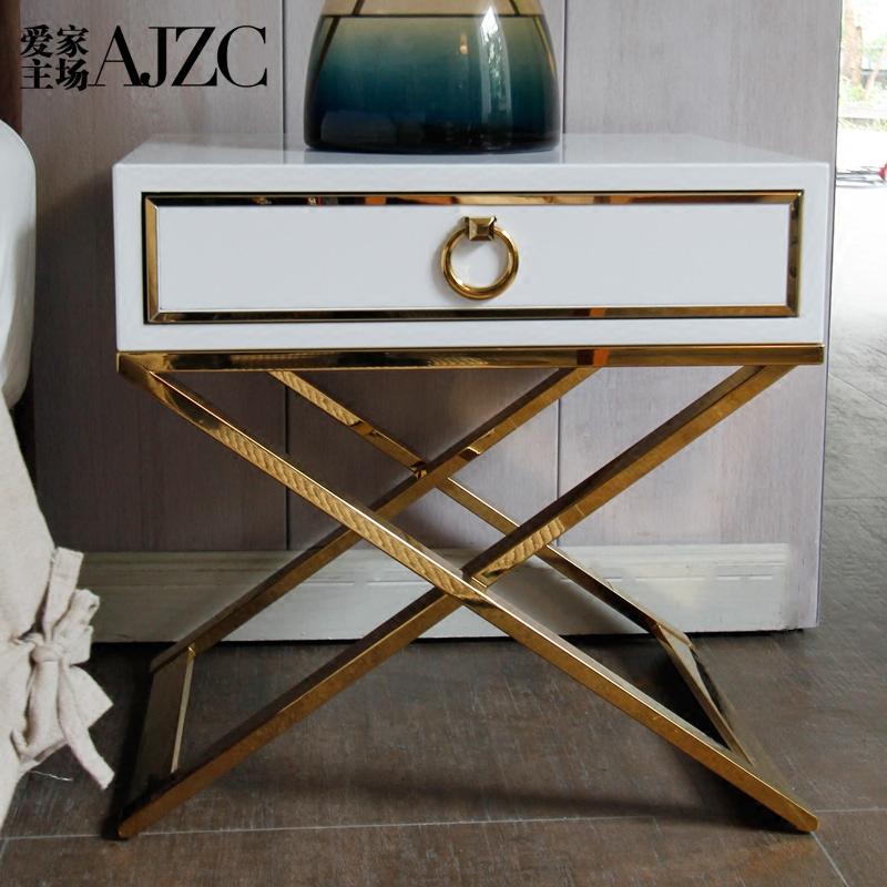 爱家主场床头柜现代简约时尚床边柜抽屉储物柜不锈钢小矮柜卧室柜