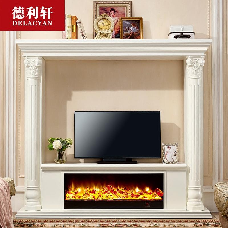 定制1.8米欧式壁炉装饰柜实木仿真火2米美式壁炉电视柜客厅背景墙