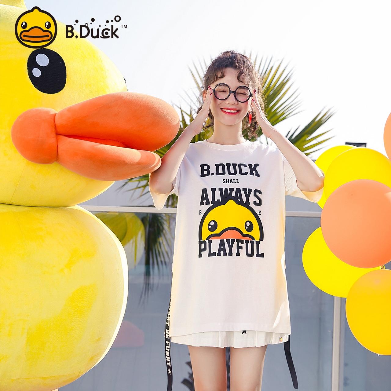 B.DuckBW系列小黄鸭女装2018夏季新款白色t恤印花短袖宽松上衣