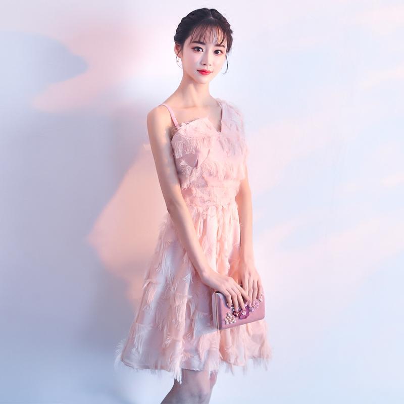 粉色姐妹团伴娘服短款2018新款夏季聚会派对小晚礼服连衣裙显瘦女