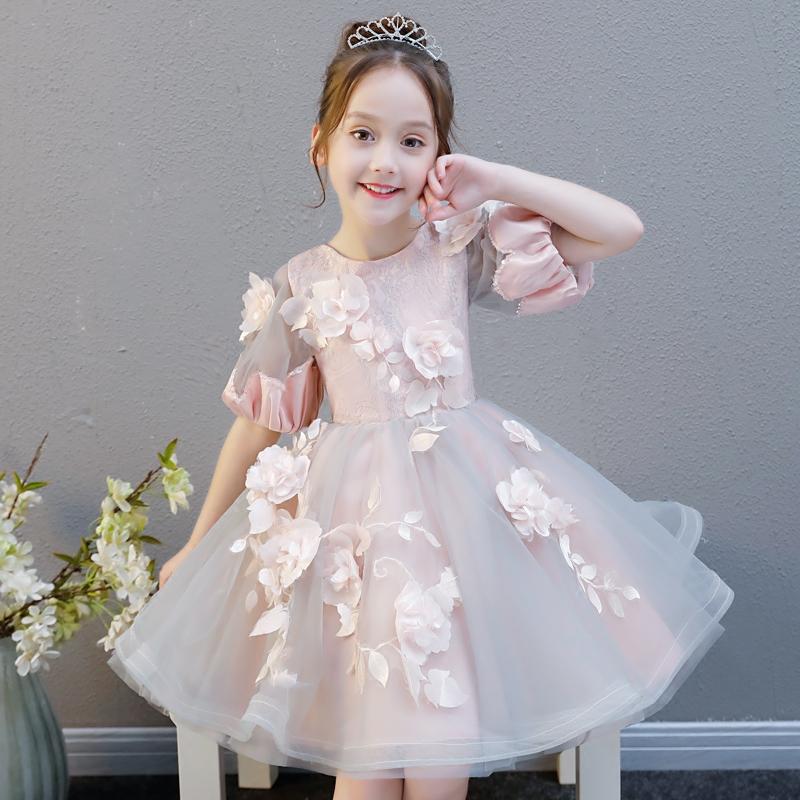 女童婚纱蓬蓬纱小孩儿童生日晚礼服公主裙花童裙子钢琴演出服夏季