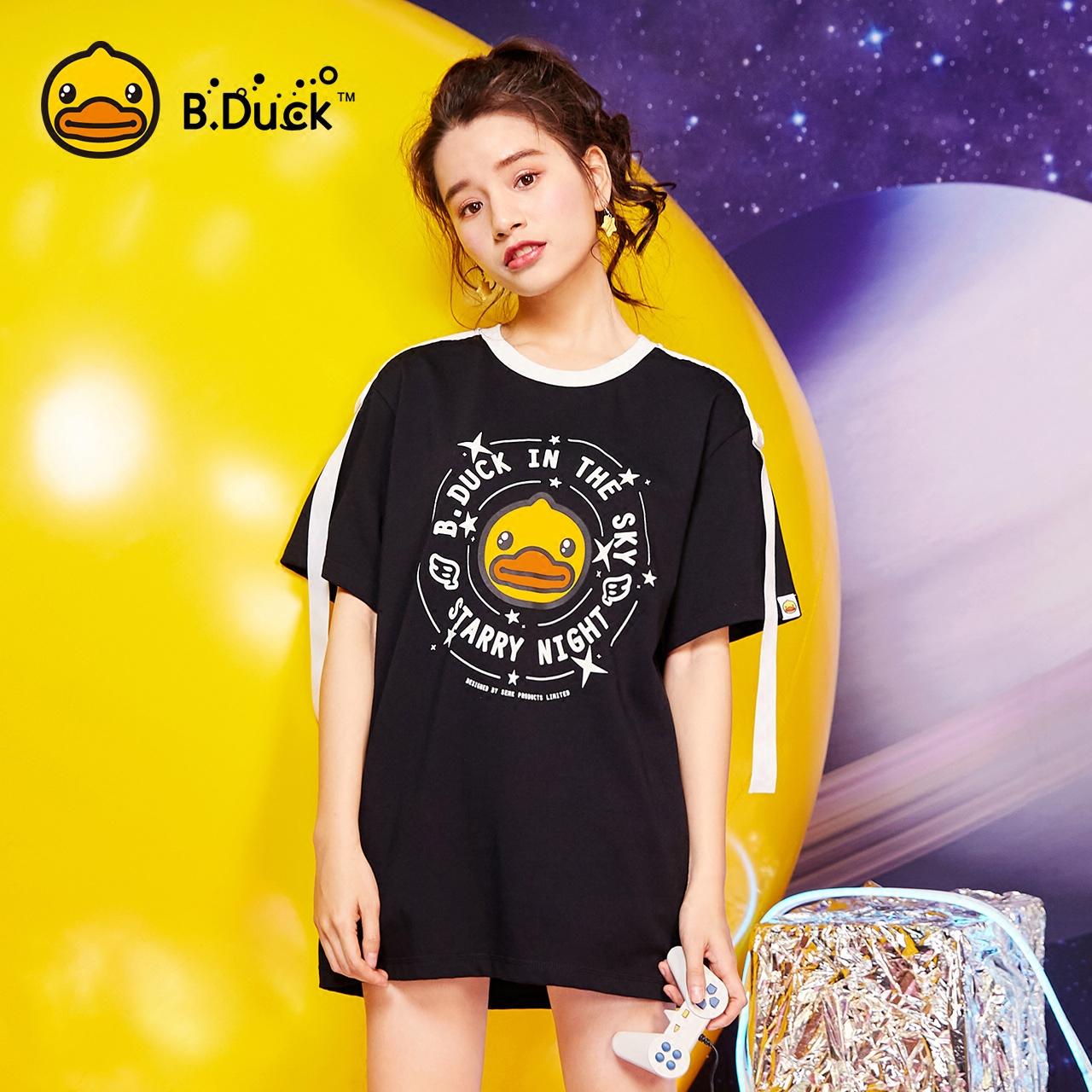 B.DuckCOSMO小黄鸭女装2018夏新款织带宽松印花短袖T恤纯棉上衣