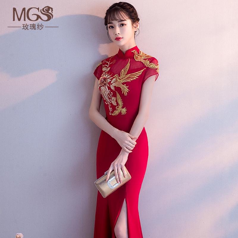中式新娘敬酒服2018新款春夏季性感鱼尾修身红色长款结婚礼服裙女