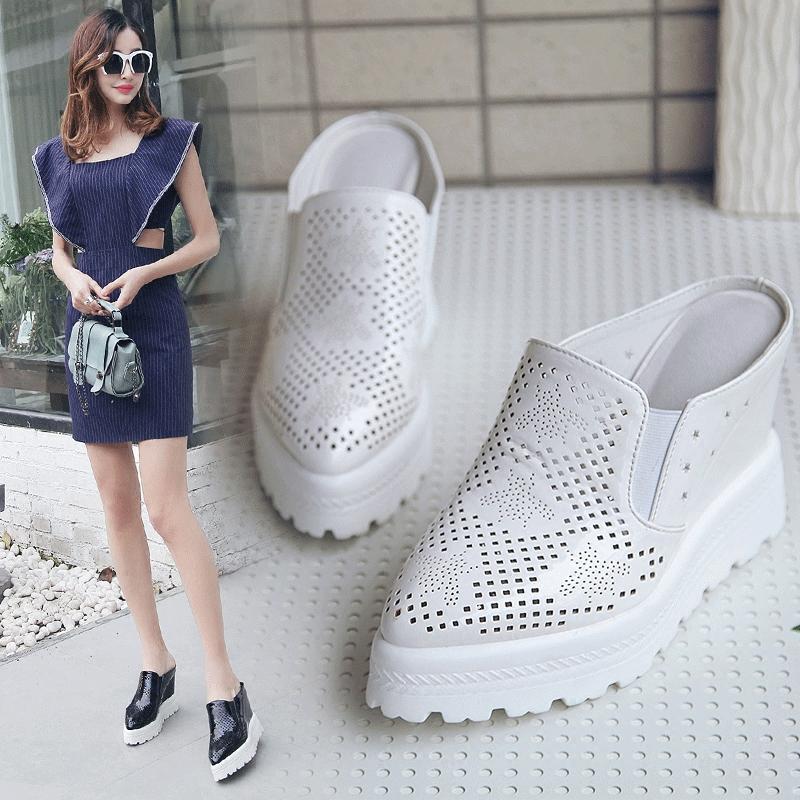 春夏季新款厚底松糕半拖鞋女镂空包头拖鞋高跟凉拖鞋室外休闲女鞋