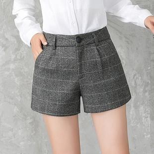 格子毛呢秋冬季短裤女呢子新款外穿大码a字高腰阔腿靴裤显瘦加厚