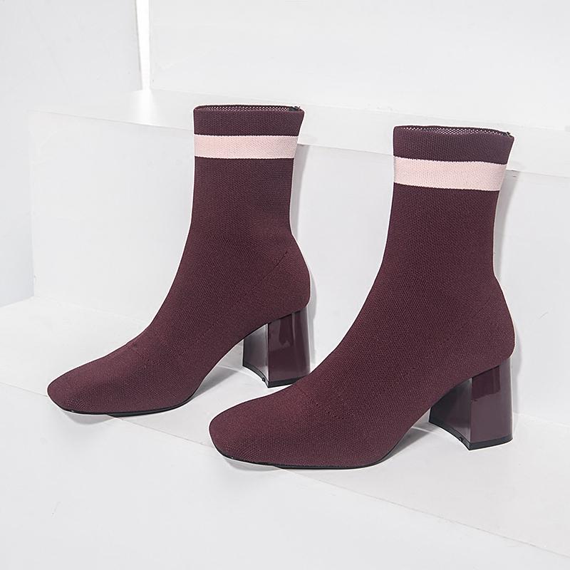 2017新款毛线短靴女粗跟方头裸靴高跟中筒靴针织靴袜子靴弹力靴女