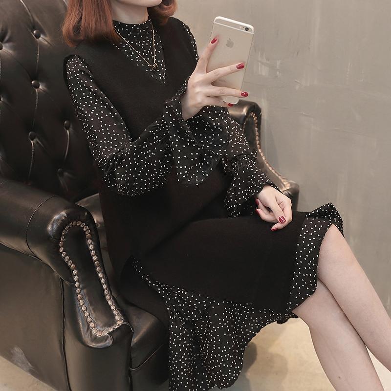 春款时髦套装chic两件套连衣裙女喇叭袖波点雪纺复古针织马甲裙子