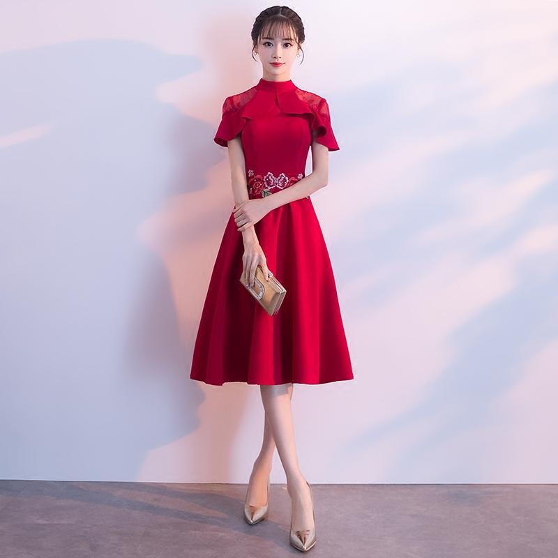 新娘敬酒服2018新款夏季韩版红色中长款修身显瘦结婚礼服连衣裙女