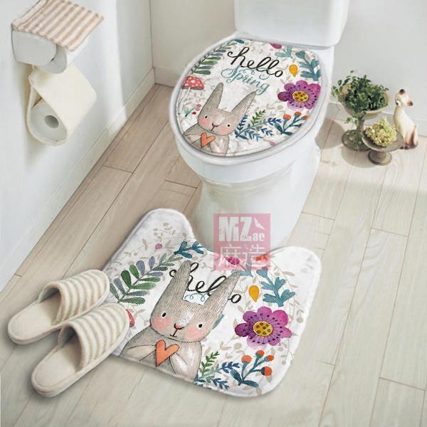 卡通卫生间马桶地垫卫浴室脚垫
