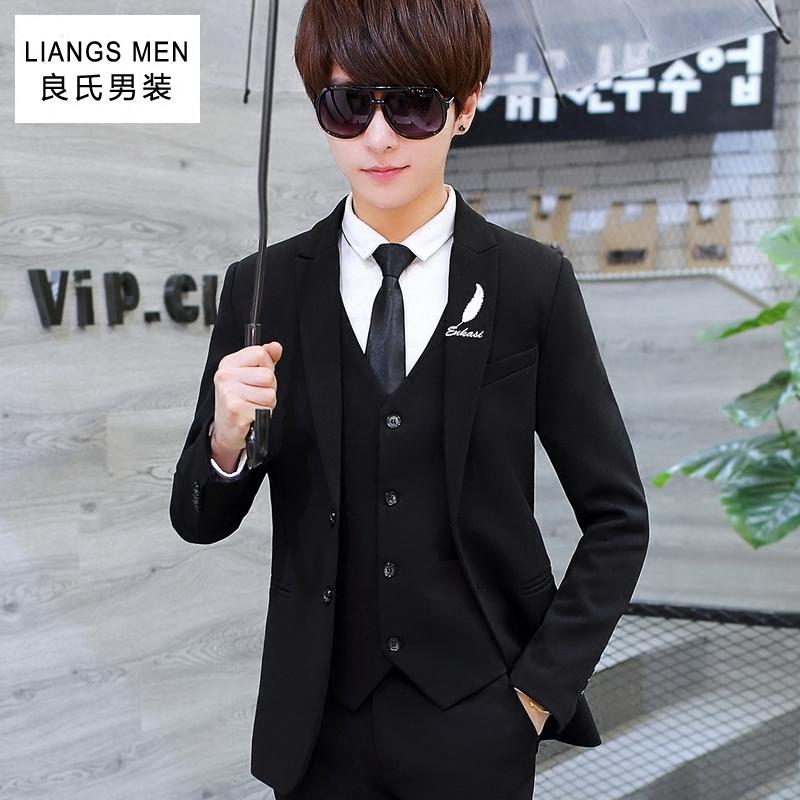 青少年西服套装男韩版修身休闲小西装学生帅气潮流男士西装三件套