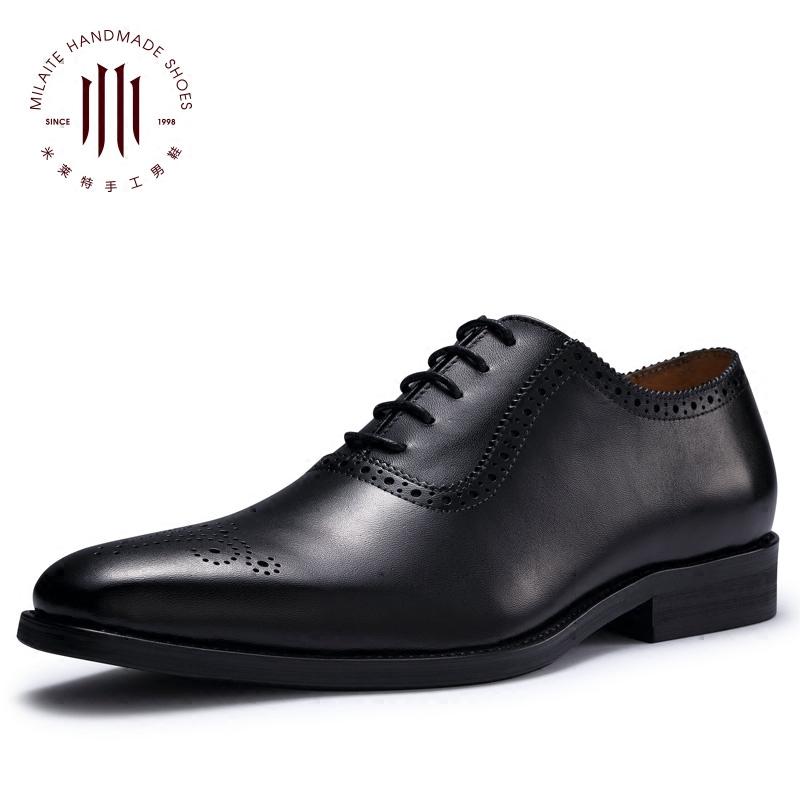 英伦布洛克雕花男鞋方头意大利手工商务正装真皮鞋韩版巴洛克婚鞋
