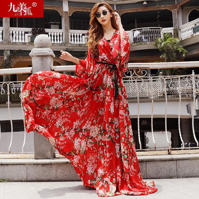2018女装夏季新款欧洲站雪纺到脚踝沙滩裙子超长款大摆连衣裙长裙