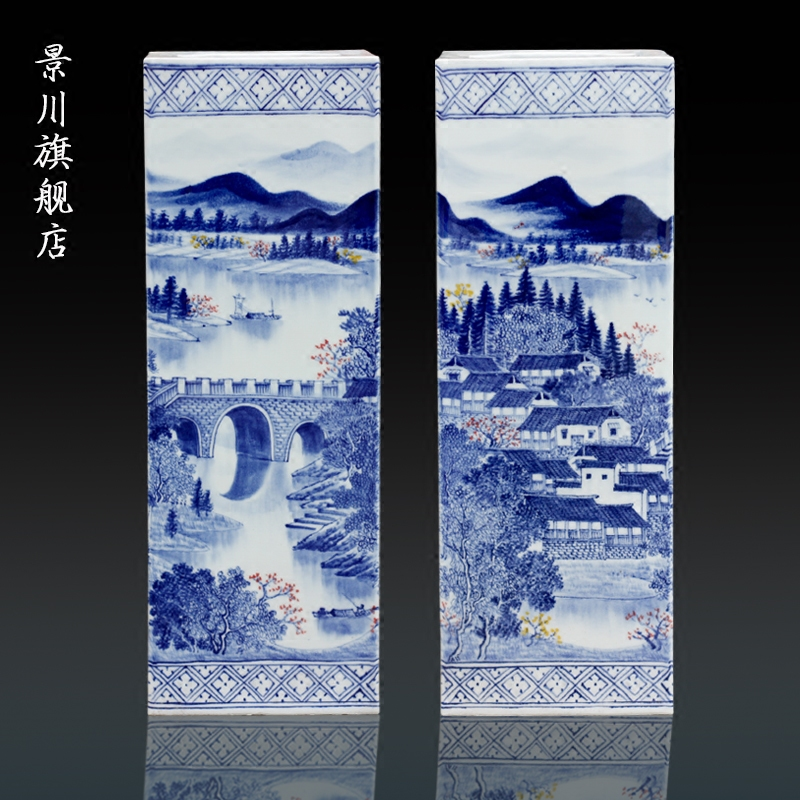 Hand - made lake spring scenery square bottle of blue and white porcelain of jingdezhen ceramic home sitting room of Chinese style furnishing articles study adornment