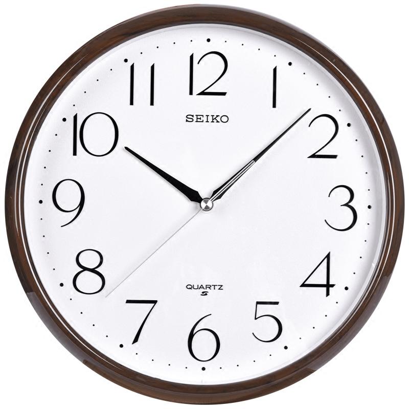 seiko 日本精工时钟 大理石纹框 仿金属框11英寸简约客厅石英挂钟
