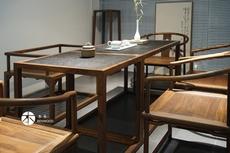 Стол 简约现代禅意茶桌老榆木茶桌椅组合黑胡桃木茶室家具实木泡茶桌子