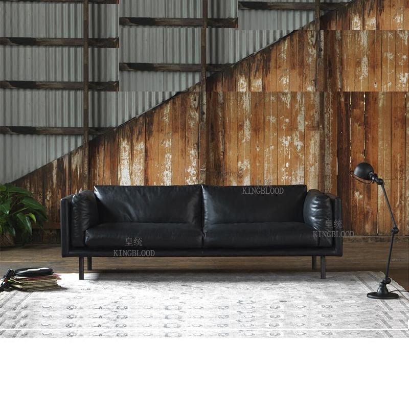 北欧小户型真皮羽绒沙发 三人简约咖啡厅皮艺沙发