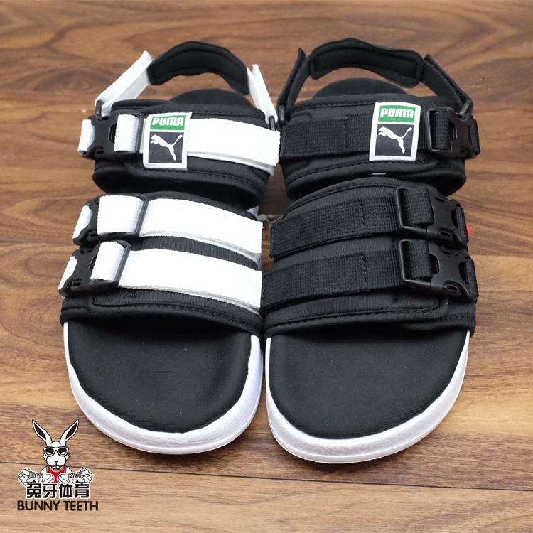 Puma Leadcat YLM Beach Sports Hummer Sandals Slippers Black and White  Couple Shoes 365630 01- 09e1773ea1