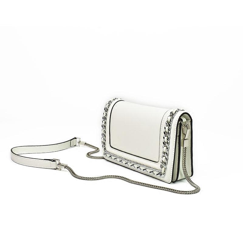 斜挎包迷你女包小ck2018新款白色真皮时尚潮同款链条单肩包小方包