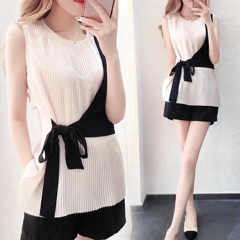 洋气套装夏女2018新款韩版无袖短裤修身显瘦 夏天套装女潮两件套