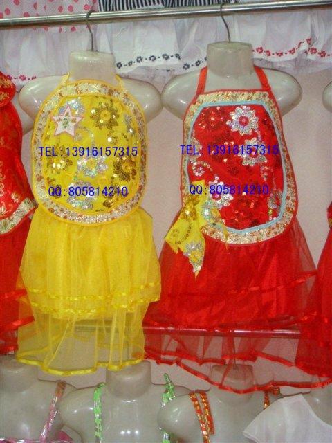 Детский день ребенок костюм желтый театрального танца костюм спинки фартук Платья вышитые двухсекционный платье с блестками