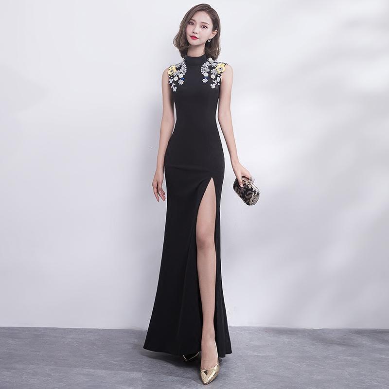 宴会晚礼服2018新款黑色性感鱼尾修身长款高贵优雅名媛礼服裙女