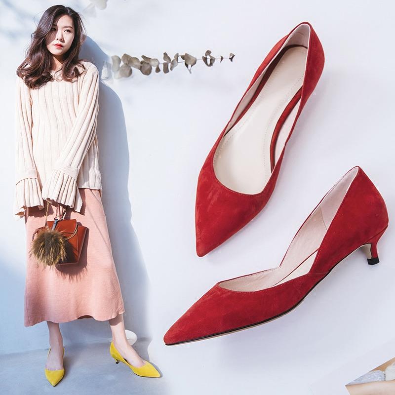 小跟鞋女2018春新款羊皮单鞋尖头猫跟高跟鞋3cm细跟侧空红色婚鞋
