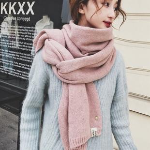 菠萝围巾女冬季韩版百搭学生长款加厚日系软妹小清新针织毛线围脖