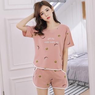 短袖睡衣女士夏季纯棉韩版清新学生可外穿宽松家居服短裤两件套装