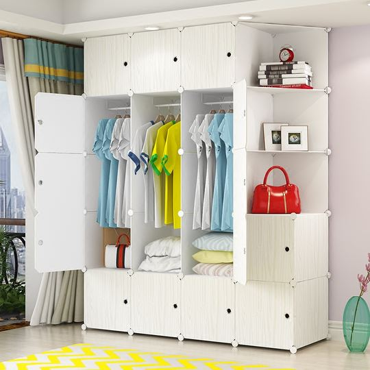 Simple wardrobe simple modern economical assembly household plastic fabric rental dormitory dormitory imitation wood wardrobe