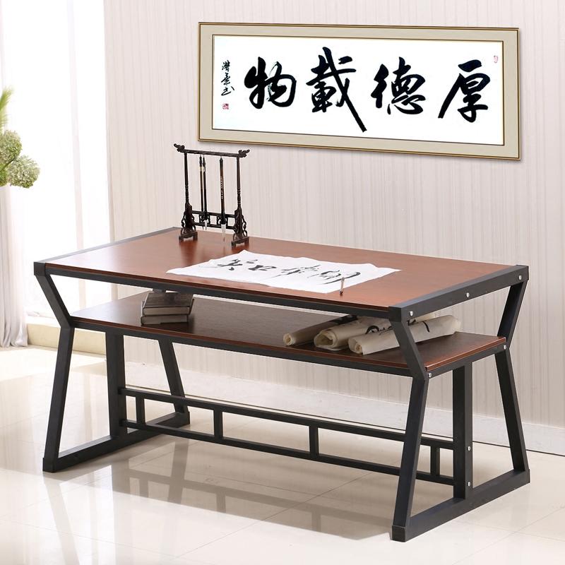 2平米 书法桌书画桌毛笔专用写字台双层简易书桌办公桌培训绘画桌电脑桌