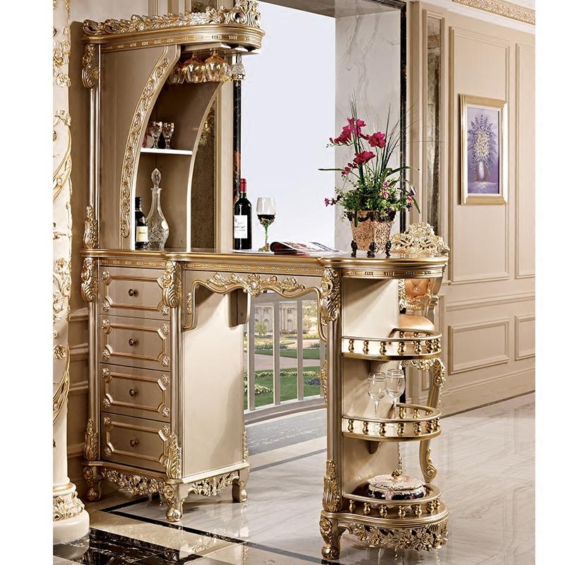 欧式实木吧台隔断柜客厅间厅柜玄关柜储物奢华家用酒柜吧台桌组合