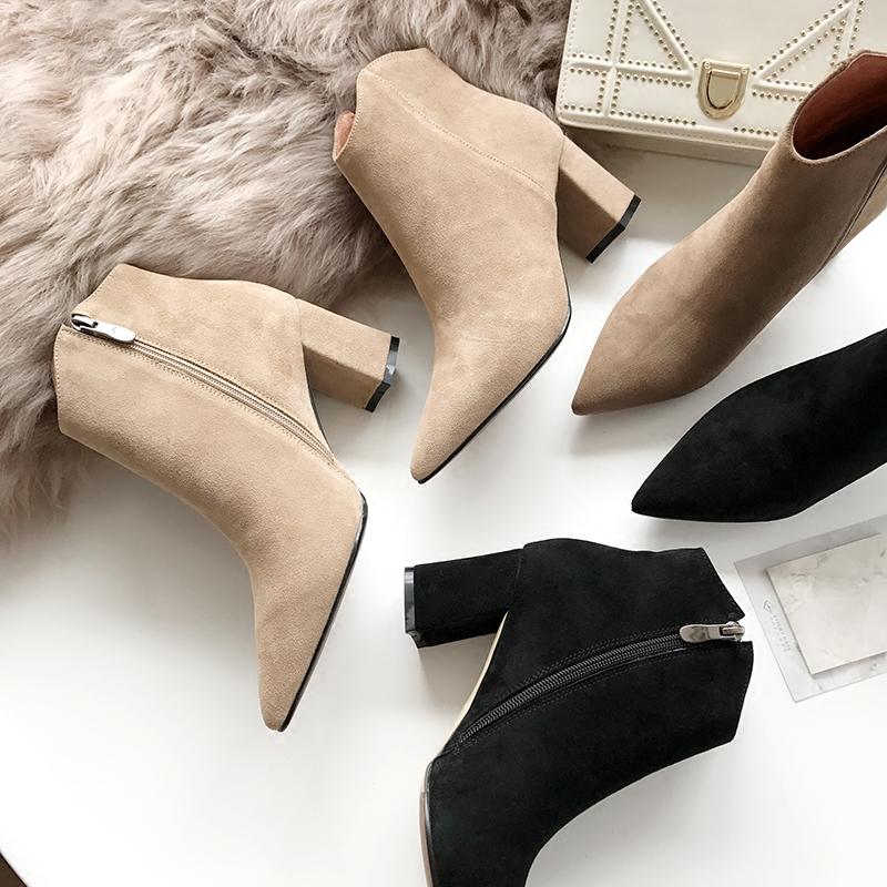 一力米灰2017秋冬粗跟短靴尖头高跟黑色韩版马丁靴女鞋真皮及裸靴