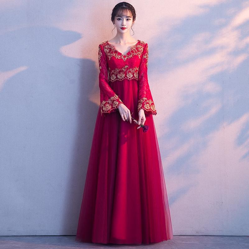 孕妇敬酒服新娘2018新款春夏季高腰大码遮肚一字肩长款结婚礼服女