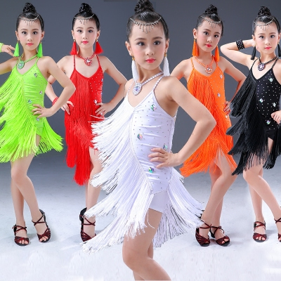 Children's Latin Skirt Girls'Performing Dresses Children's Performing Competition Dresses Latin Dance Dresses