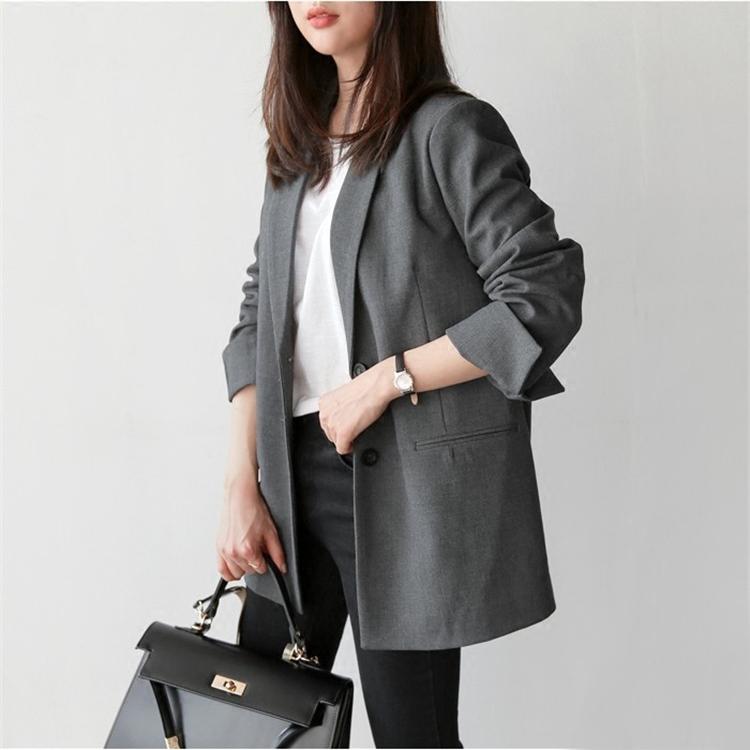 Блэйзер Покупку Южной Кореи осени в корейской версии маленький костюм женщины долго костюм с длинными рукавами моды женщин простой пальто досуг Джокер