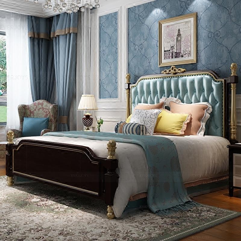 美式床实木床雕花轻奢双人床主卧室家具简欧欧式新古典真皮床婚床