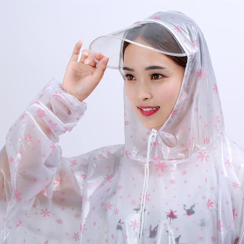 百利达透明雨衣电动车有袖单人大帽檐加厚透明男女士成人防水雨披