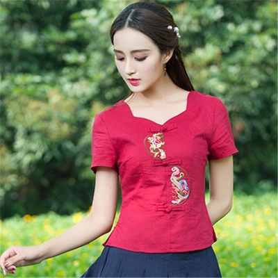 Large size women's cotton t-shirt 2018 summer new retro Chinese style embroidered short-sleeved shirt Slim was thin compassionate