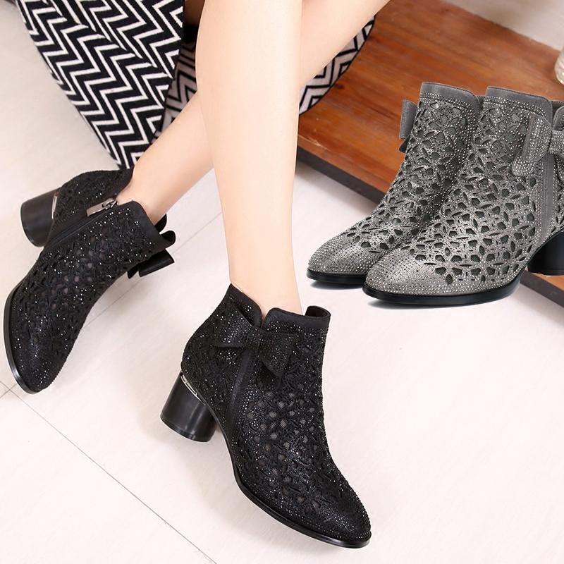 短靴女2018新款韩版春秋单靴粗跟网靴镂空洞洞鞋时尚水钻中跟女鞋